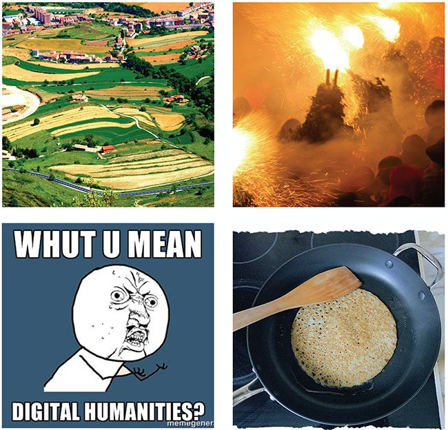 Four images showing different pieces of art, one being a meme that makes fun of digital humanities.