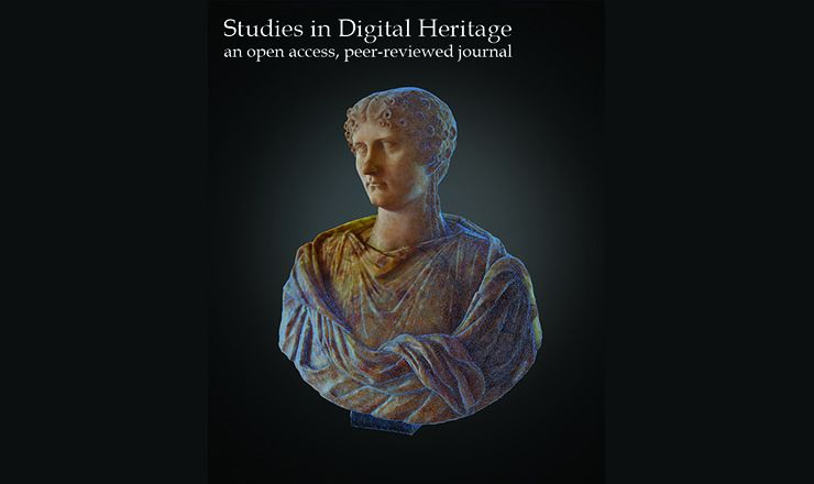 An image of a bust with the words Studies in Digital Heritage